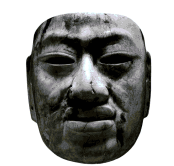 Olmec mask, 900-600 BCE, Rio Pesquero, Veracruz, Mexico. Jadeite